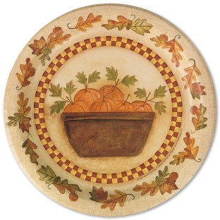 HOMESPUN HARVEST DINNER PLATE PK8