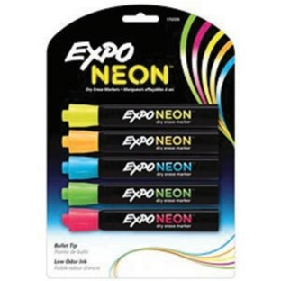 EXPO NEON DRY ERASE MARKERS PK5