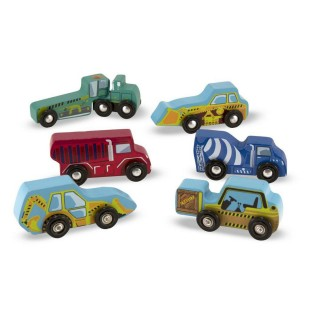 SIX PIECE WOODEN CONSTRUCTION VEHICLE SET