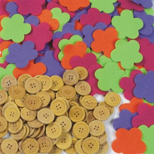 FELT/FLOWER AND WOOD BUTTONS PK/400
