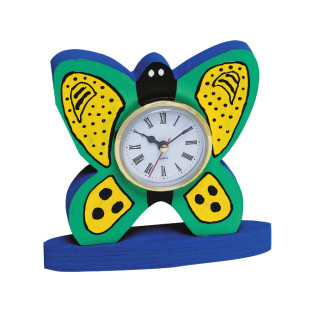 Unfinished Wood Butterfly Clock