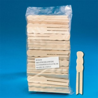 Clothespins, Large Flat, 3-3/4