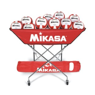 Mikasa® VQ2000 Red/White Volleyballs with Cart Pack