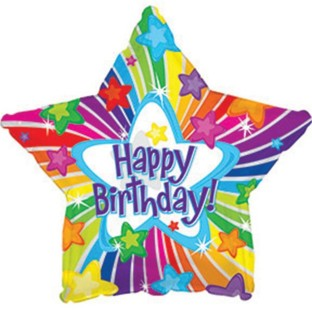 Happy Birthday Bright Stars Mylar Balloons