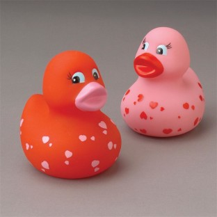 HEART RUBBER DUCKS PK12