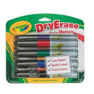 CRAYOLA 8 CT DRY ERASE CHISEL TIP ASST  MARKERS