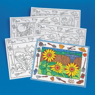 Coloring Placemats, In the Garden