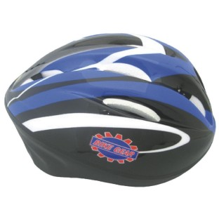 BICYCLE SAFETY HELMET MED BLUE AND BLACK GRAPHICS