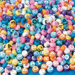 Pastel Vowel Beads 1/2-lb Bag