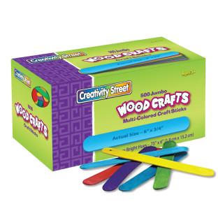 "Jumbo Colored Craft Sticks 6""x 3/4"""