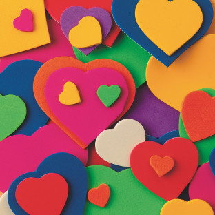Color Splash!® Foam Shapes with Adhesive - Hearts, 500 pcs.