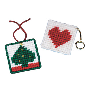 Allen Diagnostic Module Needlepoint Heart Key Rings