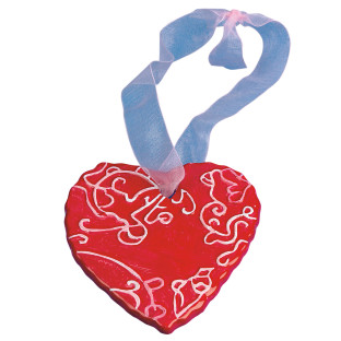 CERAMIC HEART ORNAMENT PK/12
