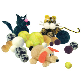 POM POM ANIMAL ASST 1/2 - 2 IN PK/300