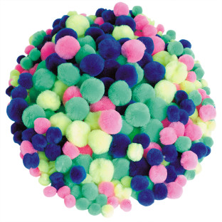 Pom Poms 2-1/2-oz. Bag - Neon Assorted Colors