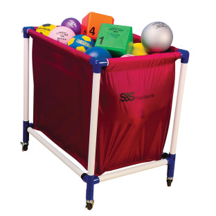 Holds a variety of inflated balls.