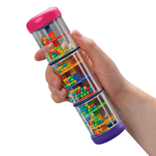 See-through container for visual and auditory fun.