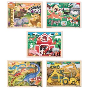 Melissa Doug 24 Piece Wooden Jigsaw Puzzle Bundle Pack Of 5