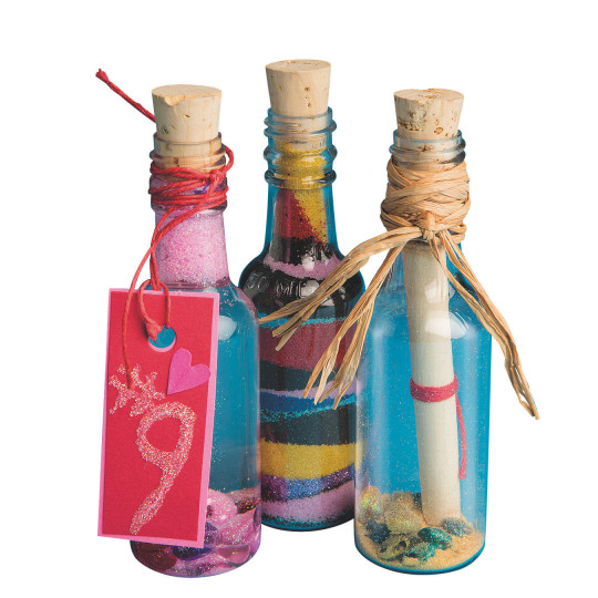 Buy plastic sand art bottles with cork at s s worldwide for Where to buy colored wine bottles