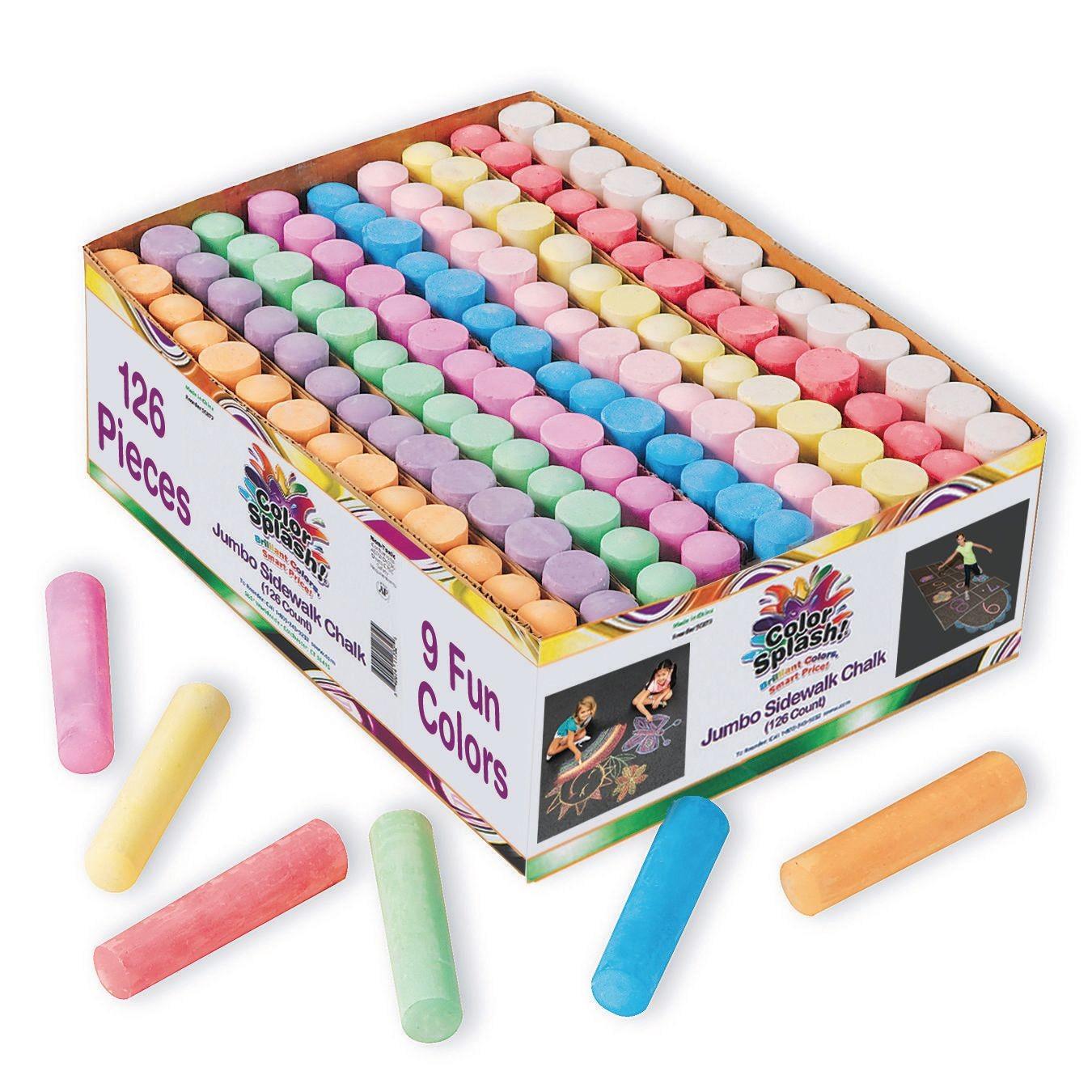 12x Mixed Colour Chalk Jumbo Sidewalk Chalk Sticks Playground Giant Chalks