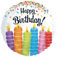 Happy Birthday Candles Mylar Balloons (Pack of 10)