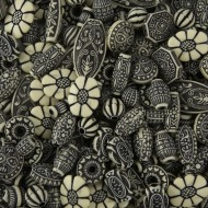 Old World Bead Mix - Black and Ivory
