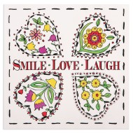 Color and Stitch Craft Kit: Smile, Laugh, Love (Pack of 12)