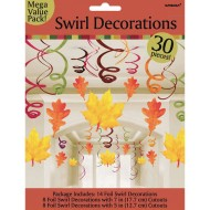 Fall Leaves 30-Piece Swirl Hanging Decorations Mega Value Pack
