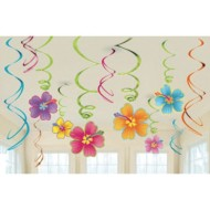 Luau Hibiscus Foil Swirl Decorations Value Pack