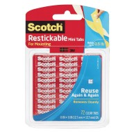 Scotch® Removable and Reusable Clear Mounting Tabs, 1/2