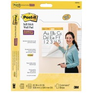 Post It® Self Stick Primary Ruled Wall Pad, 20