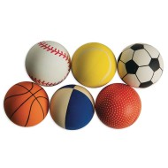 Sport Themed Rubber Play Balls, 2-3/8