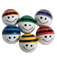 Color Striped Smile Face High Bounce Balls (Pack of 12)