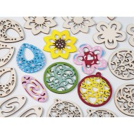Flower Wood Bead Assortment (Bag of 72)