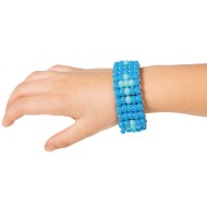 Pony Bead Blue Cross Bracelet Craft Kit (Pack of 6)