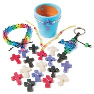 Pearlescent Assorted Design Cross Pendants