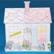 Building Facade Play Set, 3 Houses, 15 Characters