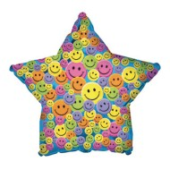 Smiley Face Star Mylar Balloons (Pack of 10)