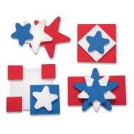 Patriotic Wood Pins Craft Kit (Pack of 48)