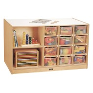 Jonti-Craft® Mobile Storage Island with Clear Trays