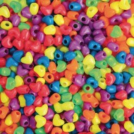 Heart Pony Beads, 1lb 12mm (1100/bag), Neon