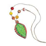 Wood Leaf Necklace Craft Kit (Pack of 12)