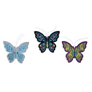 BUTTERFLY WITH BEADS- SUN CATCHER 9 in NEW AND FREE SHIPPING
