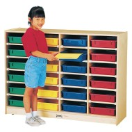 24 Paper-Tray Cubbie With Colored Trays