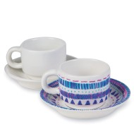 Color-Me™ Glazed Ceramic Cup and Saucer Sets (Pack of 12)