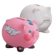 Color-Me™ Ceramic Bisque Pig Banks (Pack of 12)