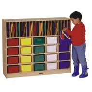 Classroom Organizer With Colored Trays