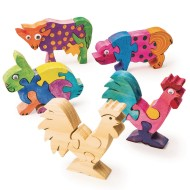 Unfinished Wooden Animal Puzzles - Farm Animals (Pack of 12)