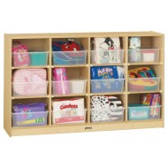 Jonti-Craft® Mobile 12-Tray Cubbie Storage With Clear Trays