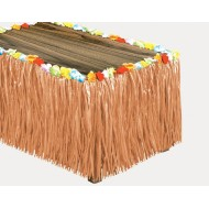 Luau Table Skirt with Flower Raffia, 9' x 30'